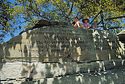 Two children (10 years old, 6 years old) sitting above Mrs Macquarie's Chair. The Domain, Sydney, Australia