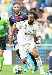 Real Madrid's Marcelo Vieira (f) and Levante UD's Ruben Rochina during La Liga Real Madrid v Levante UD football match at Santiago-Bernabeu stadium on September 14, 2019 in Madrid, Spain. Real won 3-2. Photo by Acero/AlterPhotos/ABACAPRESS.COM