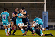 Sale Sharks lock JP Du Preez and Valeri Morozov combines to tackle Warriors Cornell du Preez   during the Gallagher Premiership match Sale Sharks -V- Worcester Warriors at The AJ Bell Stadium, Greater Manchester,England United Kingdom, Friday, January 08, 2021. (Steve Flynn/Image of Sport)
