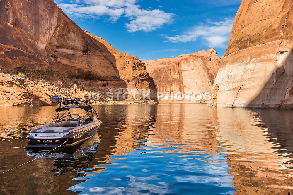 Anchored Ski Boat at Reflection Canyon Lake Powell