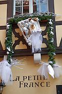 Restaurant with festive Christmas decorations. Strasbourg Alsace France