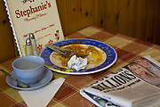 An empty plate at Stephanie's Country Kitchen along the A12 on the 26th October 2009 in Wrentham in the United Kingdom.