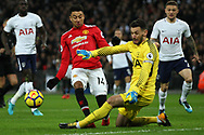 Jesse Lingard of Manchester United (L) has an attempt at goal stopped by Hugo Lloris , the goalkeeper of Tottenham Hotspur (R). Premier league match, Tottenham Hotspur v Manchester Utd at Wembley Stadium in London on Wednesday 31st January 2018.<br /> pic by Steffan Bowen, Andrew Orchard sports photography.