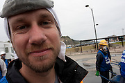 Jayson Carpenter, a photographer from California and a Peace Boat volunteer after taking part in the clean-up operations in Ishinomaki, Miyagi Friday May 6th 2011. Around 350 volunteers took part in the relief effort over the Golden Week holiday, including 41 foreigners, clearing mud and removing debris from this coastal town which more almost levelled in the March 11th earthquake and tsunami.