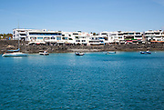 Buildings around harbour at Playa Blanca, Lanzarote, Canary Islands, Spain
