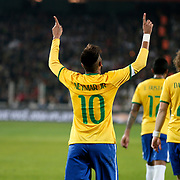 Brazil's Neymar JR celebrate his goal during their a international friendly soccer match Turkey betwen Brazil at Sukru Saracoglu Arena in istanbul November 12, 2014. Photo by Aykut AKICI/TURKPIX