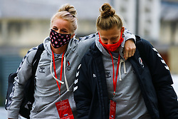 Jasmine Matthews of Bristol City Women and Yana Daniels of Bristol City Women arrives at Twerton Park prior to kick off - Mandatory by-line: Will Cooper/JMP - 18/10/2020 - FOOTBALL - Twerton Park - Bath, England - Bristol City Women v Birmingham City Women - Barclays FA Women's Super League