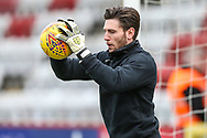 Forest Green Rovers goalkeeper James Montgomery warming up during the EFL Sky Bet League 2 match between Stevenage and Forest Green Rovers at the Lamex Stadium, Stevenage, England on 26 January 2019.