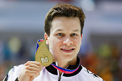 Patrick Hausding of Germany poses with his Gold Medal after winning the Mens 3m Springboard Final - Photo mandatory by-line: Rogan Thomson/JMP - 07966 386802 - 21/08/2014 - SPORT - DIVING - Berlin, Germany - SSE im Europa-Sportpark - 32nd LEN European Swimming Championships 2014 - Day 9.