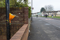 © Licensed to London News Pictures. 09/04/2019. Bristol, UK. A single bunch of flowers is attached to a lamppost on Fulford Road in Hartcliffe Bristol, where a man named locally as Michael-Lee Rice was killed when his motorcycle crashed with a parked van on Fulford Road on 05 April. A 15-year-old boy from Gloucester has been charged with murdering Michael-Lee Rice and causing danger to road users. The boy was due to appear at Bristol Crown Court today, but he was not produced from secure accommodation in Milton Keynes. There is a consideration for bail and he is due in court tomorrow. Police are investigating whether an object was obstructing the road at this time. Photo credit: Simon Chapman/LNP