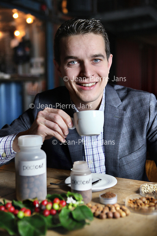 Nederland, Amsterdam , 3 december 2014.<br /> Rudi Dieleman, Director and Co-Founder at Pectcof B.V.<br /> Pectcof provides a breakthrough technology which extracts bio compounds from the industrial coffee waste, thereby adding to sustainability by reducing the waste problem.<br /> <br /> <br /> Foto:Jean-Pierre Jans