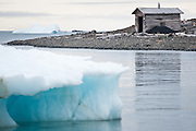 An abandoned building at Sedov Point, Franz Josef Land, Russian Arctic.