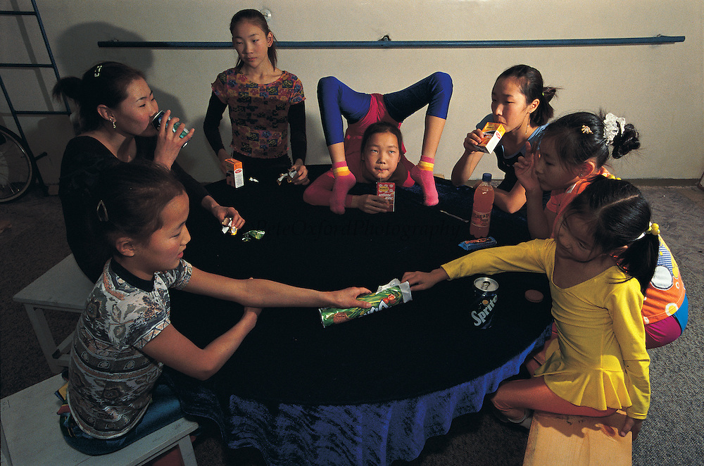 Mongolian contortionists<br /> Training at performers school<br /> Ulaanbaatar<br /> Mongolia