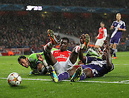 Arsenal's Danny Welbeck tussles with Silvio Proto of Anderlecht<br /> <br /> - Champions League Group D - Arsenal vs Anderlecht- Emirates Stadium - London - England - 4th November 2014  - Picture David Klein/Sportimage