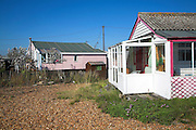 Bungalow chalet holiday homes on the beach at Felixstowe Ferry, Suffolk, England
