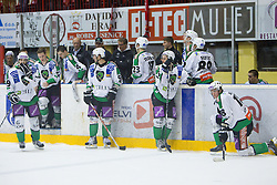 Players of Tilia Olimpija disappointed after the ice-hockey match between HK Acroni Jesenice and HDD Tilia Olimpija in fourth game of Final at Slovenian National League, on April 8, 2011 at Arena Podmezakla, Jesenice, Slovenia. Jesenice defeated Olimpija 4-2 and became Slovenian National Champion 2010-2011. (Photo by Vid Ponikvar / Sportida)