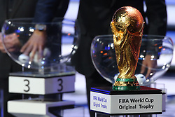 December 1, 2017 - Moscow, Russia - 2018 FIFA World Cup winner's trophy seen during the Final Draw for the 2018 FIFA World Cup at the State Kremlin Palace on December 01, 2017 in Moscow, Russia. (Credit Image: © Igor Russak/NurPhoto via ZUMA Press)
