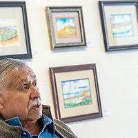 Artist David Montelongo speaks about his gallery show and 50+ year career of creating art in Gallup at Art123 in Gallup Friday.
