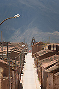 Street view of Maras, a old town, 11, 090 feet up the Peruvian Mountains, Sacred Valley of the Incas, Cusco Region, Peru, South America