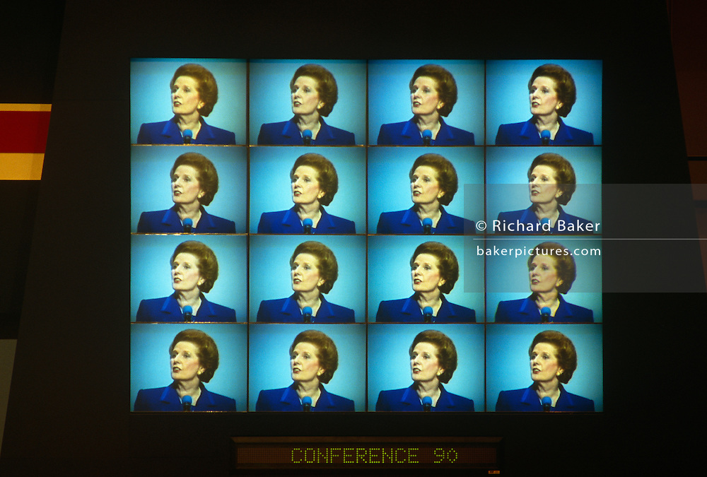 Multi-screen TV images of Margaret Thatcher's last speech as PM at Tory Party conference before being deposed weeks later.