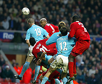 Liverpool's El-Hadji Diouf wins a header from Sunderland's Kevin Kyle during the Premiership match at Anfield, Liverpool, Sunday, November 17th, 2002. <br /><br />Pic by David Rawcliffe/Propaganda<br /><br />Any problems call David Rawcliffe on +44(0)7973 14 2020 or email david@propaganda-photo.com - http://www.propaganda-photo.com