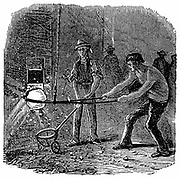 Boiling, a form of puddling, at Phoenix Iron Works, Phoenixville, Pennsylvania. From 'The Science Record', New York, 1873