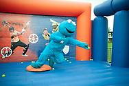 Cookie Monster practicing his catching during the second day of the 4th SpecSavers International Test Match 2018 match between England and India at the Ageas Bowl, Southampton, United Kingdom on 31 August 2018.