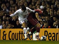 Photo: Olly Greenwood.<br />Tottenham Hotspur v Dinamo Bucuresti. UEFA Cup. 14/12/2006. Spurs Aaronn Lennon and Dinamo's Catalin Munteanu