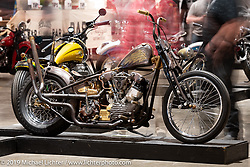 King Nothing Bobber, Josh Allison's Cry Baby Cycles' 1945 Harley-Davidson Knucklehead custom from Greeley, Colorado on display at the Handbuilt Show. Austin, Austin USA. Sunday, April 14, 2019. Photography ©2019 Michael Lichter.