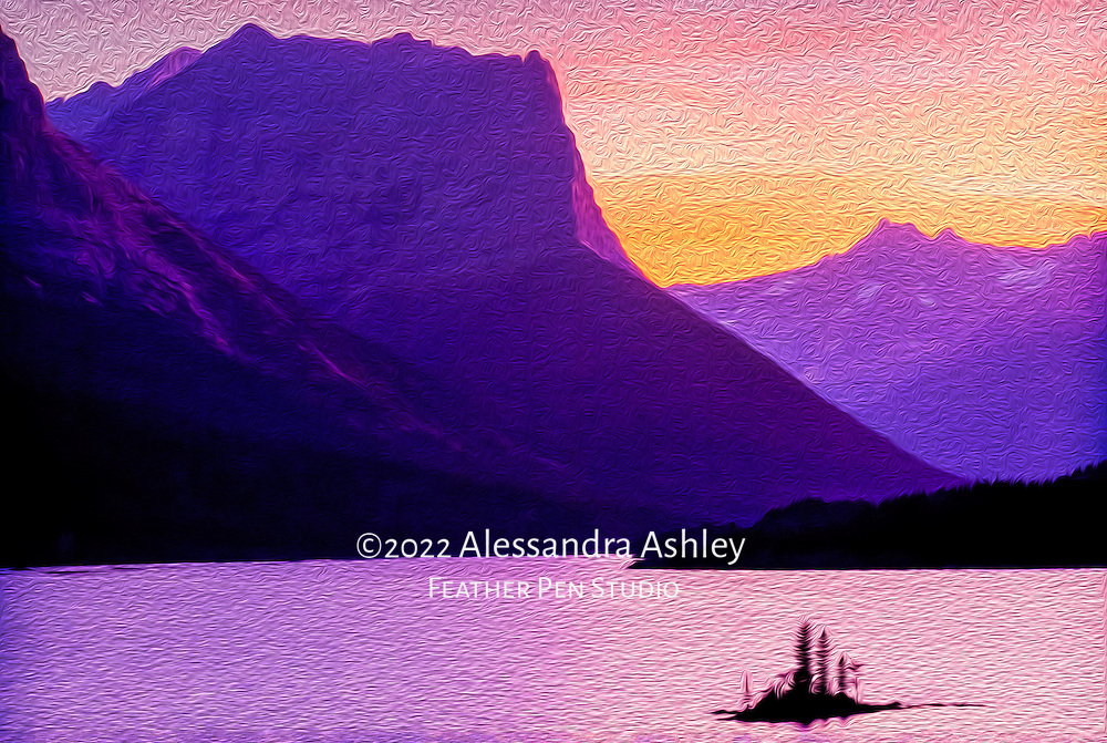 Sunset over St. Mary Lake, Glacier National Park, Montana. Painterly effects blended with original photo.