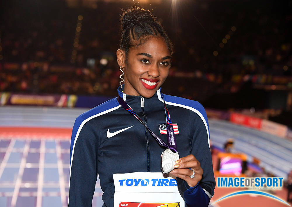 Mar 4, 2018; Birmingham, United Kingdom; Christina Manning (USA) poses with the silver medal after placing second in the women's 60m hurdles during the IAAF World Indoor Championships at Arena Birmingham.