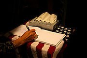 Signing the guestbook...Service (Funeral) for Lt. Nicolas Madrazo of Bothell, Washington. Killed in Action September 9, 2008 in Afghanistan...Westminster Chapel, Bellevue, Washington.