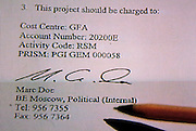 Moscow, Russia, 29/01/2006..Image from Russian television documentary expanding on allegations by the Russian Federal Security Service of spying by British embassy diplomats in Moscow. The image shows a document allegedly signed by Marc Doe, a secretary in the British embassy's political section, who Russian authorities place at the centre of the alleged spy ring.