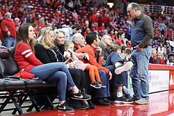 21 February 2018:  Doug Collins talks with Dennis Banks during a College mens basketball game between the Drake Bulldogs and Illinois State Redbirds in Redbird Arena, Normal IL