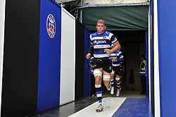 Bath Rugby captain Stuart Hooper leads his team out onto the field for the second half - Photo mandatory by-line: Patrick Khachfe/JMP - Mobile: 07966 386802 13/09/2014 - SPORT - RUGBY UNION - Bath - The Recreation Ground - Bath Rugby v London Welsh - Aviva Premiership