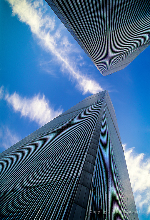 Low angle view of World Trade Center towers in late afternoon, New York City, New York