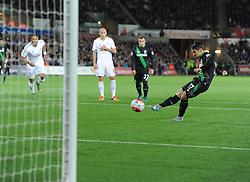 Bojan Krkic of Stoke City scores a penalty. - Mandatory byline: Alex James/JMP - 07966 386802 - 19/10/2015 - FOOTBALL - The Liberty Stadium - Swansea, Wales - Swansea v Stoke - Barclays Premier League