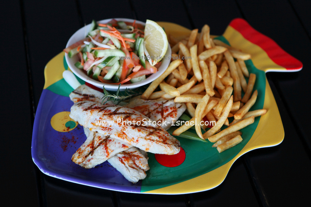A plate of Fish and Chips and salad on black background