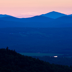 Sunset as seen from the fire tower at the John Wingate Weeks State Historic Site.  Lancaster, New Hampshire.