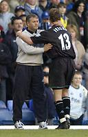 Photo: Richard Lane.Digitalsport<br /> Birmingham City v Leicester City. FA Barclaycard Premiership. 13/03/2004.<br /> Micky Adams thanks Steffen Freund.