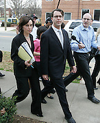 William N. Beebe, middle, walks with his laywers into Charlottesville Circuit Court  before being sentenced to 18 months in prison and 500 hours of community Thursday, March 15, 2006 in Charlottesville, VA. Beebe was charged with raping a Liz Seccurro at the University of Virginia 22 years ago pleaded guilty to aggravated sexual Tuesday in the Charlottesville Circuit Court Charlottesville, VA. Photo/Andrew Shurtleff