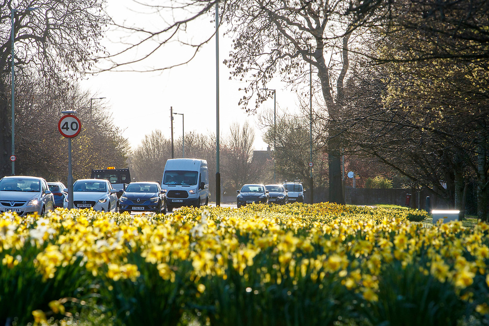DUNDEE, SCOTLAND, APRIL 2021: An increase in traffic on main roads as lockdown eases throughout Scotland. Traffic on the A90 Dundee. Traffic on the Arbroath Road heading into Dundee<br /> <br /> <br /> (Photo: Ross Johnston/Newsline Media)
