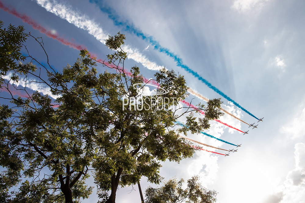 Patrouille de France air plane during the parade of the team France on Champ-Elysées after winning the 2018 FIFA World Cup Russia on July 16, 2018 in Paris, France - Photo Frederic Le Floc'h / ProSportsImages / DPPI