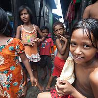 Children in the Outfall Slum in Dhaka, Bangladesh.