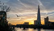 Sunrise over the Shard and River Thames, London, England - 24 Nov 2014