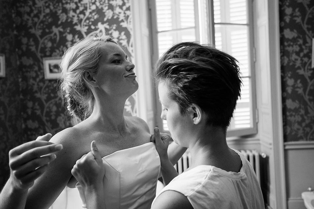 Wedding preparations. Chateau la Durantie, Lanouille France.
