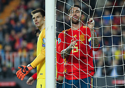 March 23, 2019 - Valencia, Valencia, Spain - Sergio Ramos of Spain lameting during European Qualifiers championship, , football match between Spain and Norway, March 23th, in Mestalla Stadium in Valencia, Spain. (Credit Image: © AFP7 via ZUMA Wire)