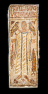 The Christian Eastern Roman Byzantine memorial funerary mosaic for Felicitas and Victoria. <br /> <br /> A mosaic depiction of a female decorates the grave of  Felicitas and Victoria which bears their inscription and that they departed in peace. Lit candles representing eturnal life and birds are also depicted on the funerary panel.<br /> <br /> 5th century AD from the western necropolis of Thabraca, Tabarka, Tunisia, Bardo Museum, Tunis, Tunisia. Black background .<br /> <br /> If you prefer to buy from our ALAMY PHOTO LIBRARY  Collection visit : https://www.alamy.com/portfolio/paul-williams-funkystock/roman-mosaic.html - Type -   Bardo    - into the LOWER SEARCH WITHIN GALLERY box. Refine search by adding background colour, place, museum etc<br /> <br /> Visit our ROMAN MOSAIC PHOTO COLLECTIONS for more photos to download  as wall art prints https://funkystock.photoshelter.com/gallery-collection/Roman-Mosaics-Art-Pictures-Images/C0000LcfNel7FpLI