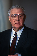 WASHINGTON, DC, USA - 1997/03/17: Former U.S. Vice President Walter Mondale during a press conference at the White House March 17, 1997 in Washington, DC. Mondale and former Sen. Nancy Kassebaum were named to lead a public education effort to win passage of the stalled campaign reform legislation.  (Photo by Richard Ellis)
