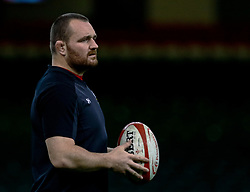 Ken Owens of Wales during the captains run<br /> <br /> Photographer Simon King/Replay Images<br /> <br /> Six Nations Round 5 - Wales v Ireland Captains Run - Saturday 15th March 2019 - Principality Stadium - Cardiff<br /> <br /> World Copyright © Replay Images . All rights reserved. info@replayimages.co.uk - http://replayimages.co.uk